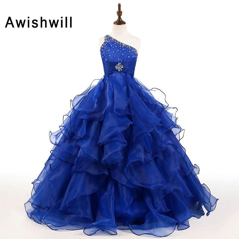 Real Photo Lovely Blue   Flower     Girl     Dresses   for Weddings 2019 Kids Evening   Dress   Holy Communion   Dresses   For   Girls   Pageant Gowns