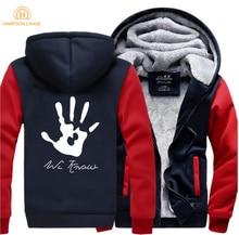 Skyrim Dark Brotherhood We Know Hand Print Hip Hop Hooded Men 2019 Winter Warm Fleece Fashion Sweatshirt Mens Casual Tracksuit