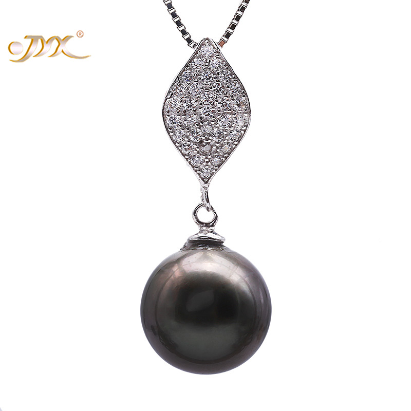 JYX 10.5mm Black Tahitian Pearl South Sea Cultured Pendant Necklace Fine Jewery in 925 Sterling Silver 18 inches AAA jyx pearl silver 925 jewelry genuine 12 5mm oval golden south sea cultured pearl 925 pendant necklace in sterling silver 18