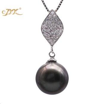 JYX 10,5mm Schwarz Tahitian Perle Südsee Züchteten Anhänger Halskette Feine Jewery in 925 Sterling Silber 18 zoll AAA