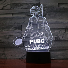 USB 3D Led Night Light FPS Game Player PUBG Figure Battlegrounds Winner Chicken Dinner Boy Kids Birthday Gifts Desk lamp bedroom