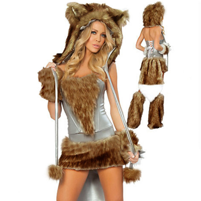 Women S Deluxe Sexy Big Bad Wolf Animal Furry Costume For Adult