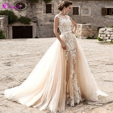 Detmgel Scoop Neck Mermaid Wedding Dress Detachable Train