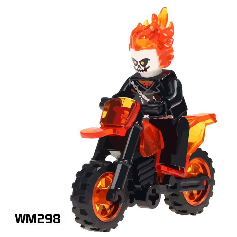 50pcs Super Heroes Ghost Rider With Motorcycle Mini Dolls Bricks Building Blocks Learning Toys for Children