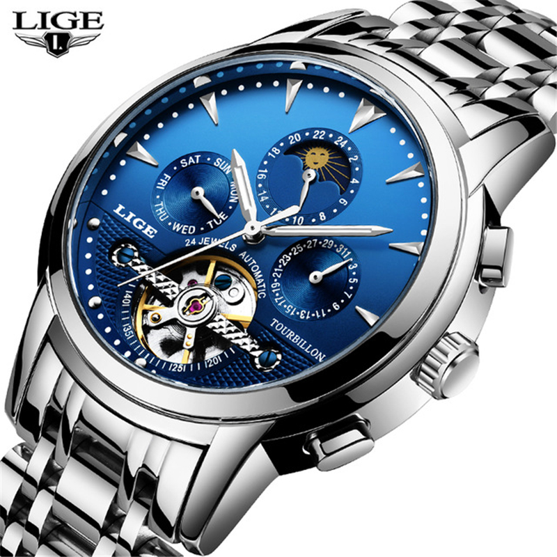 LIGE Men's Watches Fashion Business Automatic Mechanical Watch Men's Stainless Steel Waterproof Sports Watch Relogio Masculino