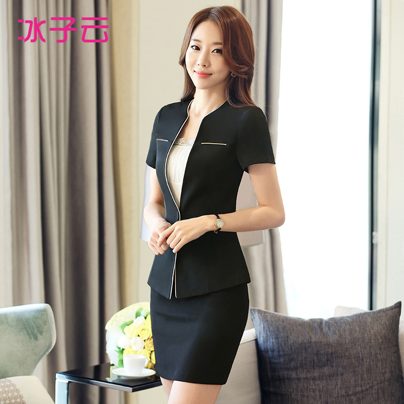 The new women s summer wear short sleeved collarless suit fashion suit