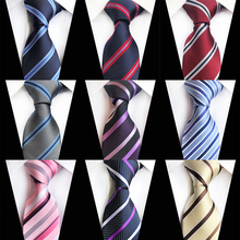 Striped Neckties for Business Men Blue Red Fashion 8CM Silk Ties Wedding Party Formal Suit Tie Gravata Jacquard Woven Necktie
