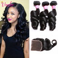 Malaysian Virgin Hair Loose Wave Frontal With Bundles Dark Light Brown Malaysian Curly Hair 3 Bundles With Lace Frontal Closure