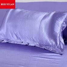 (2 unids/lote) Estándar sola funda de almohada de Seda Funda de almohada de seda Funda de Almohada de Algodón Blanco/Gris/Rosa/púrpura 48*74 cm