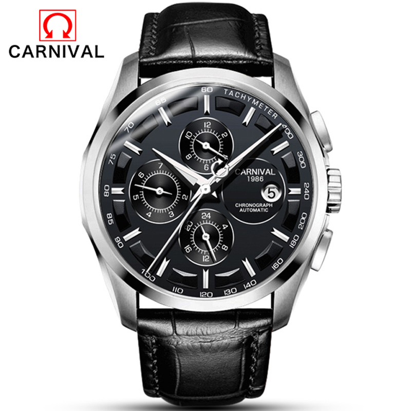 Carnival Watch Men Automatic Mechanical Silver Stainless Steel Waterproof multifunction Black Leather Watches цена и фото