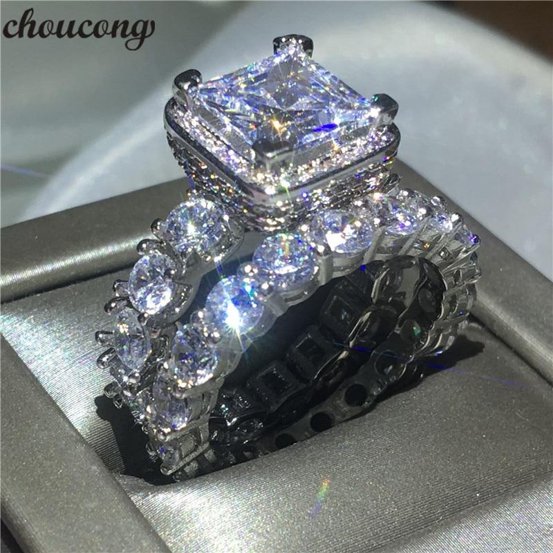 Choucong בציר טבעת פייב הגדרת 5A נישואים אירוסין כסף סטרלינג 925 Cz זירקון הכלה bijoux טבעות סט לנשים