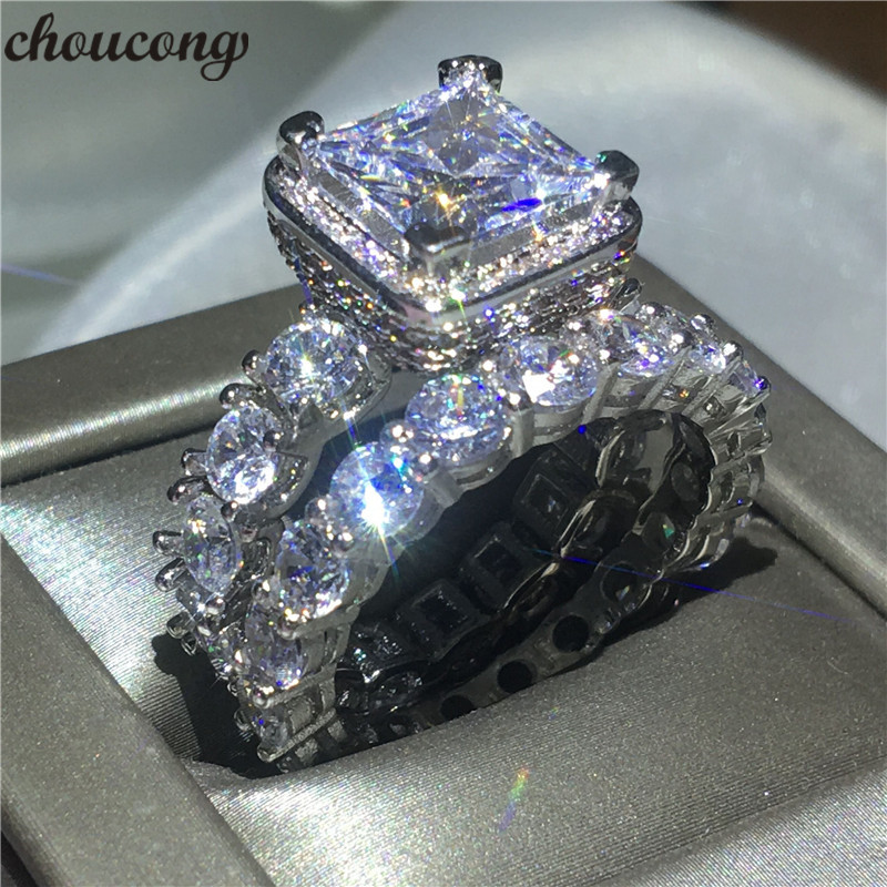 choucong Vintage ring Pave setting 5A zircon Cz 925 Sterling silver Engagement Wedding Band Rings set For Women Bridal bijoux цена