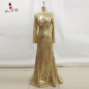 Sparky Gold Sequin Evening Dresses Long Sleeve O Neck Vestido de Noche Mermaid Elegant Muslim Prom Dress 2017 Formal Gowns