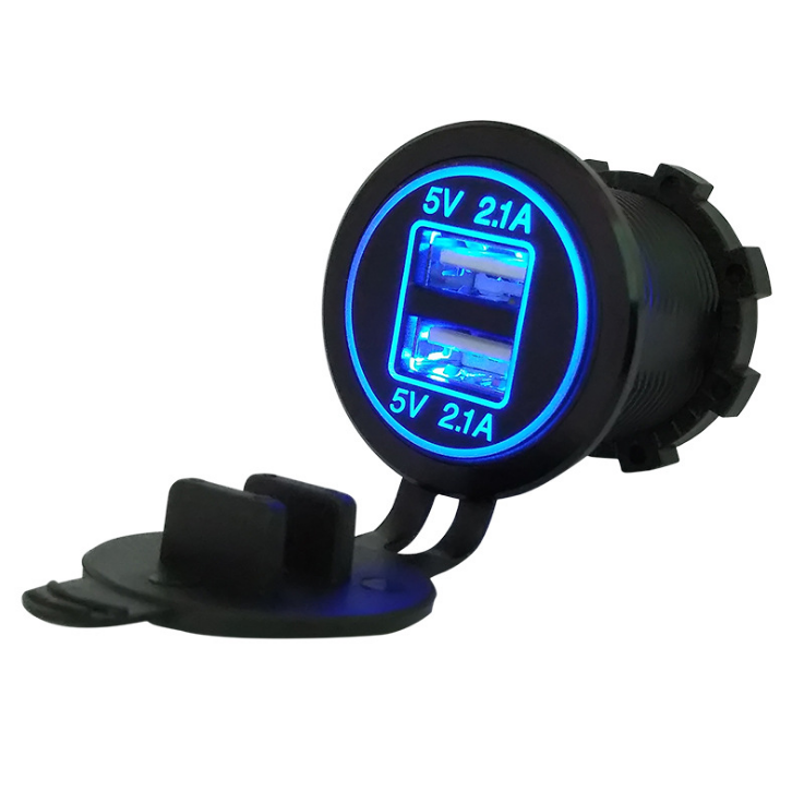 По DHL или FedEx 200 шт. DC 12 В/24 В двойной порт автомобильное USB зарядное устройство 4.2A розетка питания для лодки мобильных телефонов светодиодный свет мотоцикла - Название цвета: Blue