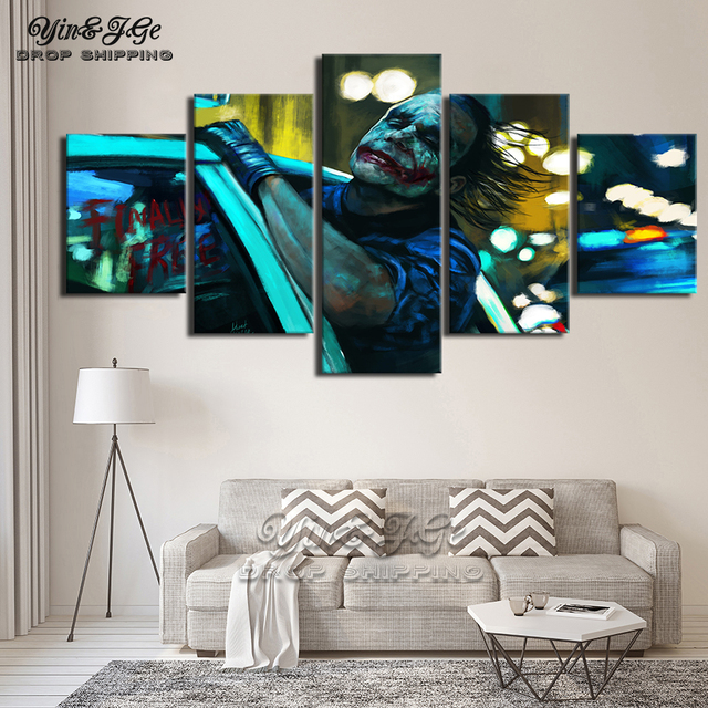 Wall Art Abstract Canvas Painting HD Prints Home Decor 5 Pieces Movie Joker Modular Living Room Pictures Frames Artwork Poster