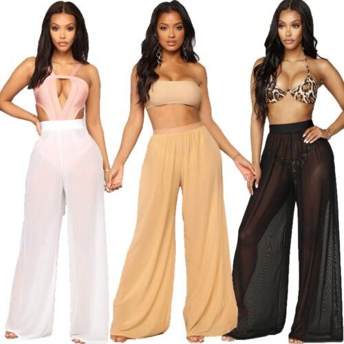 Women   Wide     Leg     Pants   Beach Mesh Sheer Summer 2019 Streetwear High Waist   Pants   Elastic Casual Drawstring Long Trousers Cover Up