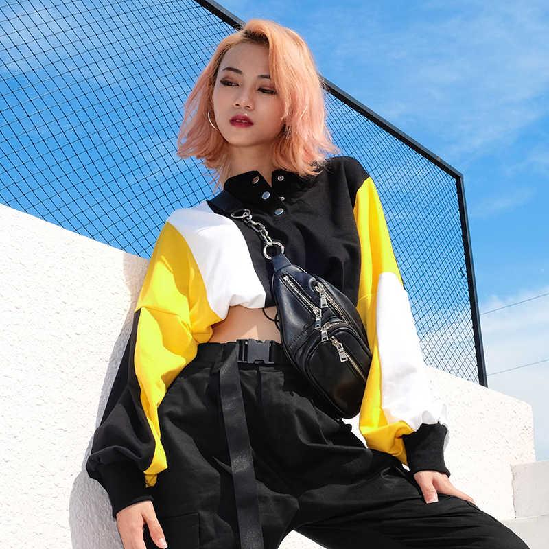 Sweetown Long Sleeve Oversized Crop Korean Hoodies Sweatshirts Women Autumn Winter 2018 Turtleneck Harajuku Cute Kpop Sweatshirt