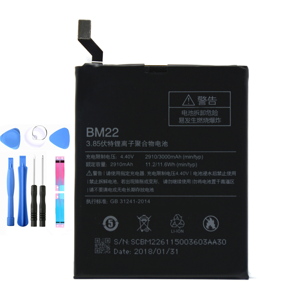 100%original For Xiaomi Battery BM22 Battery For Xiaomi Mi5 M5 Bateria Batterij 3000mAh Mi5 Battery 5 M5 MI 5 bm22 battery+tools