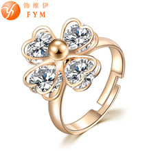 New Classic Luxury Fashion Ring 4 Valve Flower Gold Color Crystal Adjusted Ring Women CZ Diamond Finger Rings for Party Wedding new classic luxury fashion ring 4 valve flower gold color crystal adjusted ring women cz diamond finger rings for party wedding