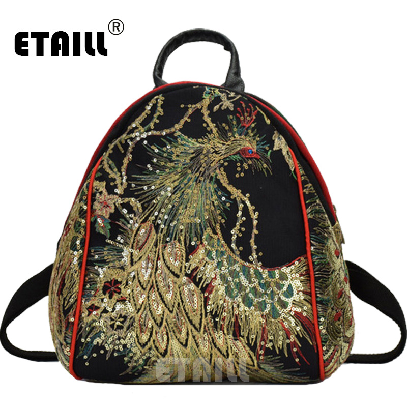 Etaill Golden Sequins Phoenix Embroidered Backpack Chinese Yunnan Traditional Ethnic Style Women Vintage Back Pack School Bags