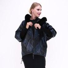 100% из натуральной кожи воротник лиса овчины Пальто и пуховики Для женщин куртка Костюмы «летучая мышь» Большие размеры питание от оптовая продажа с фабрики