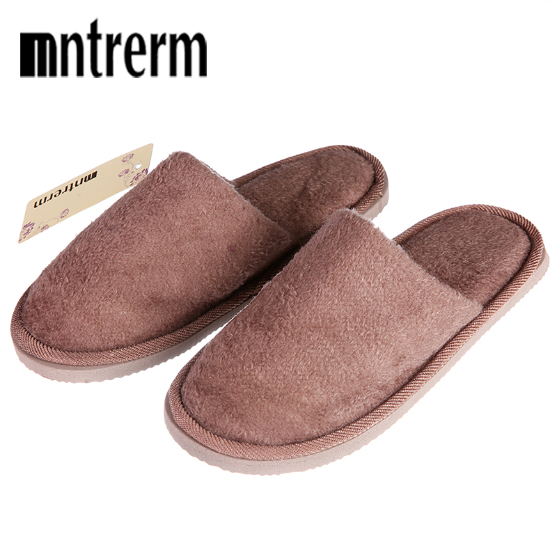 Mntrerm Winter New Soft Plush Cotton Slippers Men Shoes Indoor Non-Slip Floor Home Slippers Men Furry Warm Shoes For Bedroom women s winter furry slippers home non slip soft couples cotton thick bottom indoor warm rubber clogs woman shoes