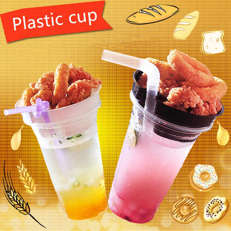 50pcs 95 caliber disposable milk tea plastic cup varies size transparent cups snack coffee takeaway packaging cups with lids