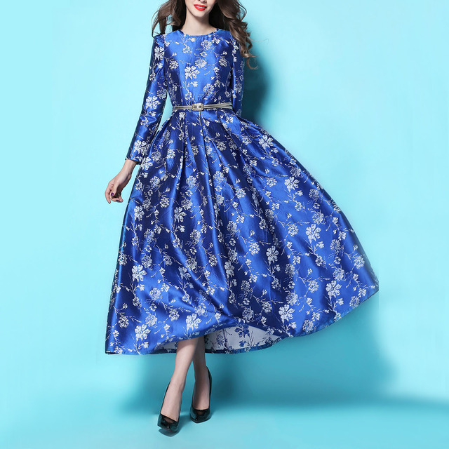 7eb12622eead0 US $65.11 12% OFF|2017 New Retro Satin Floral Jacquard Sapphire Blue Long  Dresses Women Elegant Full Sleeve Slim Formal Party Dress Maxi Dresses-in  ...