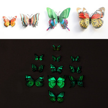 12pcs Luminous 3d Double Layer Butterfly Wall Sticker Art Decal Home Decor for Mural Stickers DIY Decals PVC Christmas Wedding