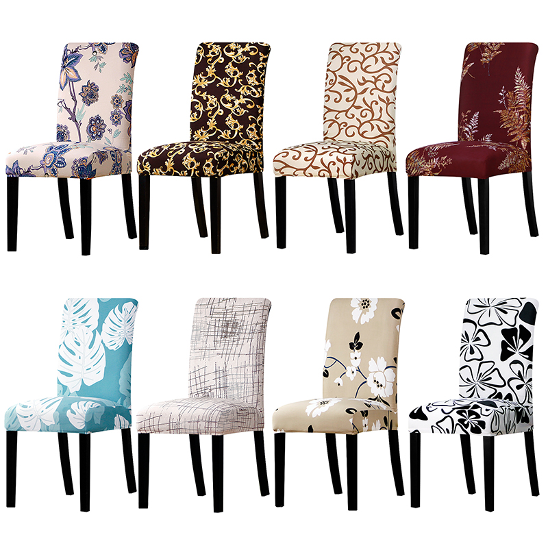 Flower Print Stretch Chair Cover Seat Dining Chair Covers Protector Slipcover Hotel Banquet Dining Room Wedding Decoration