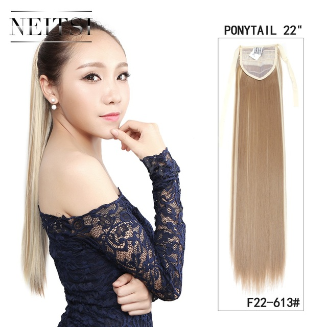 Neitsi 1pc 22 Ombre Synthetic Straight Fake Hair Extensions