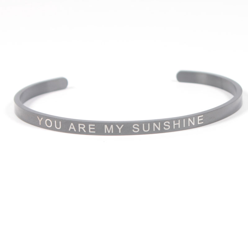 """4MM """"YOU'RE MY PERSON"""" Inspirational Quote Cuff Bracelet Stainless Steel Personalise Mantra Bangles for Valentine's Day Gift"""