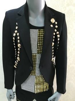 Plus size Fashion decoration Men's slim suit Ds costumes Stage blazers Nightclub singer dancer stage performance suit wear