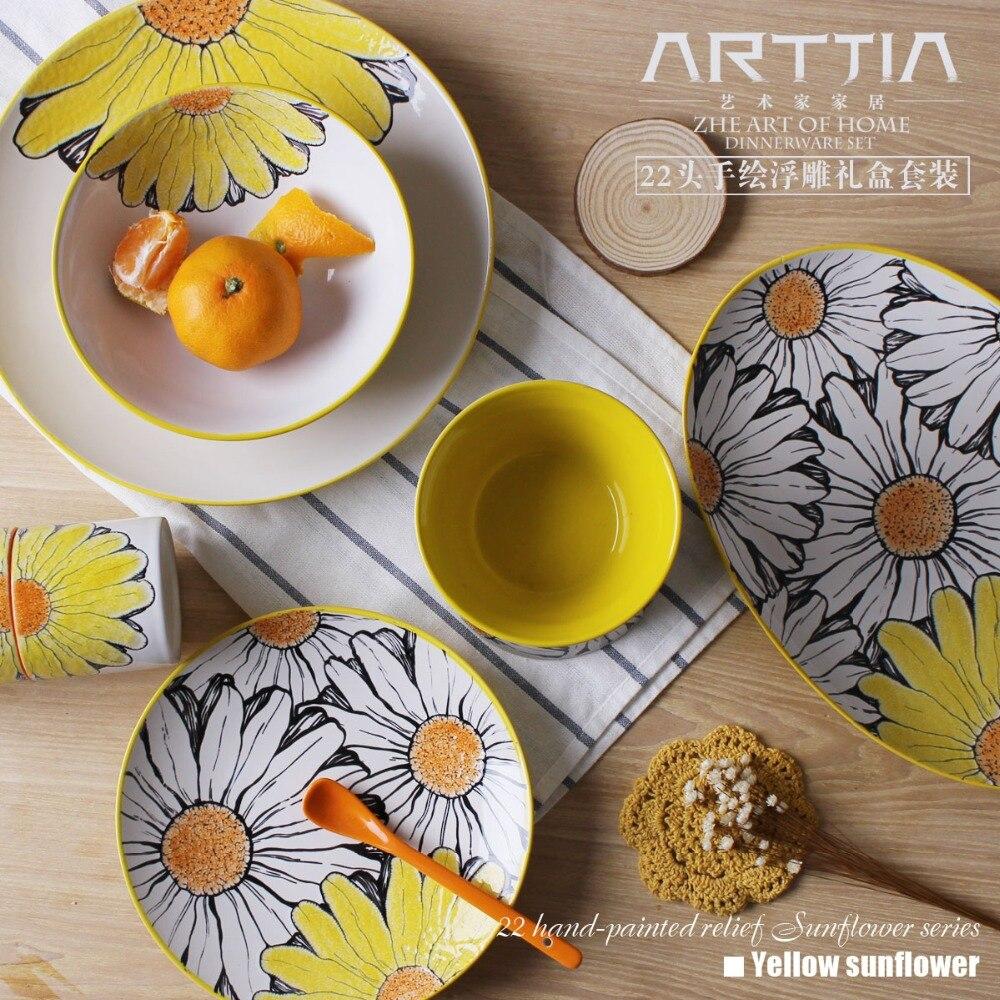 popular designer dinnerware setsbuy cheap designer dinnerware  - hand painting ceramic flower design dinnerware set wedding box giftset(china (mainland)