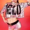 2015 New Fashion Jazz harem ds women Reflective silver hip hop dance costume set letter Dance performance wear shorts & Top
