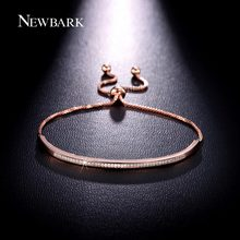 NEWBARK Captivate Bar Slider Bracelet Brilliant Pave Cubic Zirconia Rose Gold Plated Feminine Fashion Jewelry