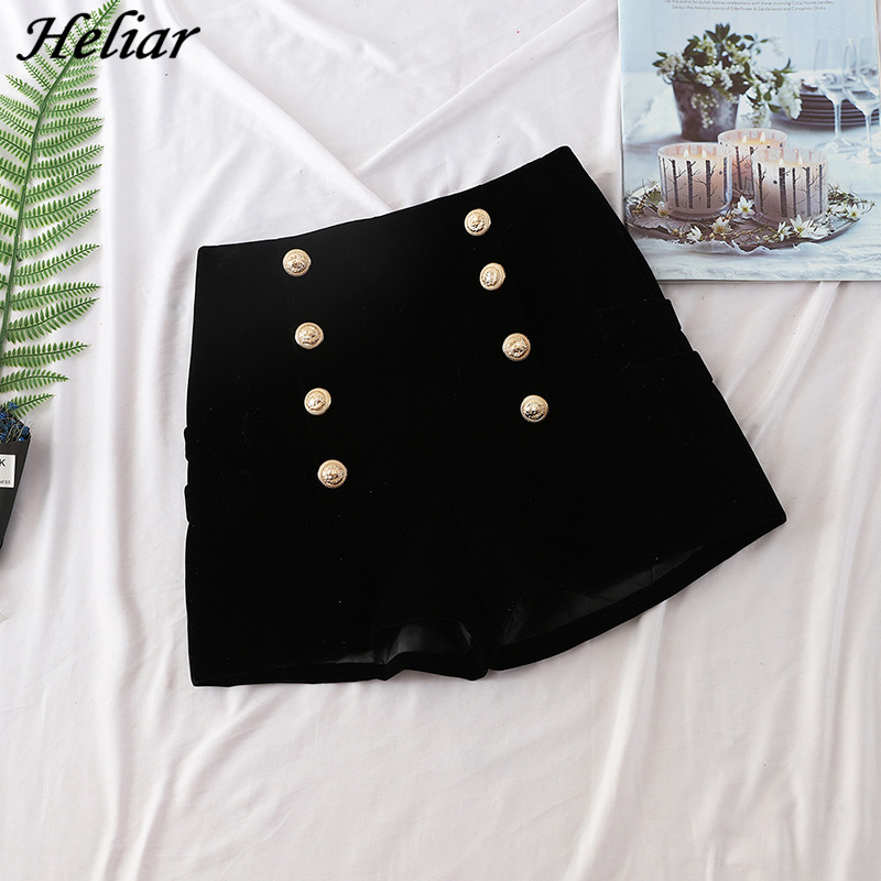 HELIAR Weekeep Fashion Velvet   Shorts   Women's Black Button Style Casual Zipper Fly   Short   Spring Femme Elegant Winter   Shorts   2019