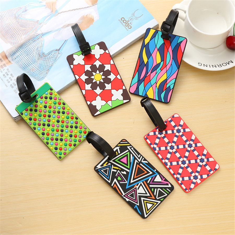 New Suitcase Color Pattern Luggage Tags Design ID Tag Luggage Label Address Holder Identifier Label Travel Accessories LT19a