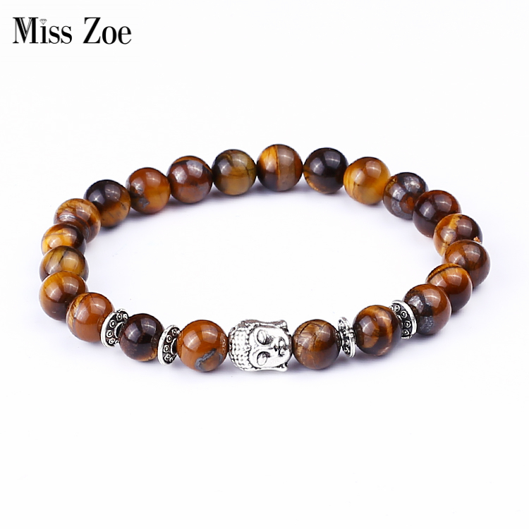 Miss Zoe Tiger Eye Beads Gelang Buddha Shakyamuni Bangles bijoux Rope Rantai Batu Alam Gelang Wanita Pria Perhiasan