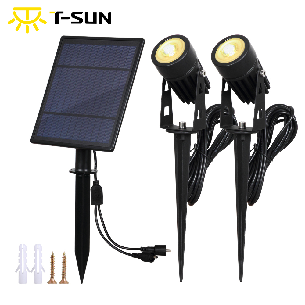 T-SUNRISE Solar Powered Spotlight 2 Warm White Lights with Solar Panel Outdoor Lighting Landscape for Yard Garden Pathway Tree