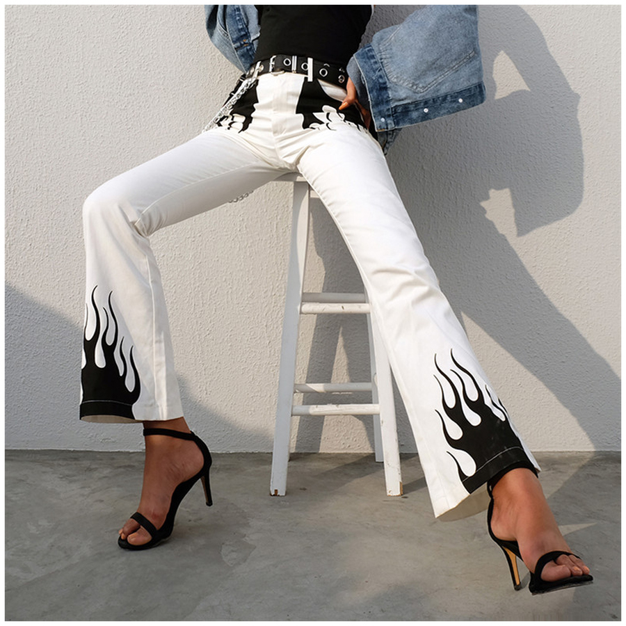 Color Block Casual Panelled Flame Print High Waist Long Flare Pant Women 2018 New Spring Bottoms Slim Fit Long Trousers Pocket