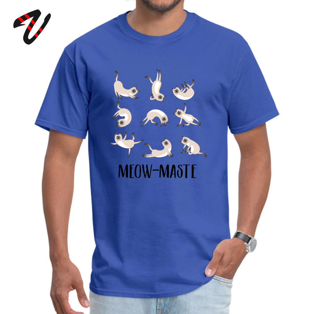 Men <font><b>OM</b></font> <font><b>Tshirt</b></font> Meowmaste Namaste Cats Round Neck T Shirt Summer cosie Tops Shirts Punisher Sleeve Slim Fit Gorillaz T-shirts Man image