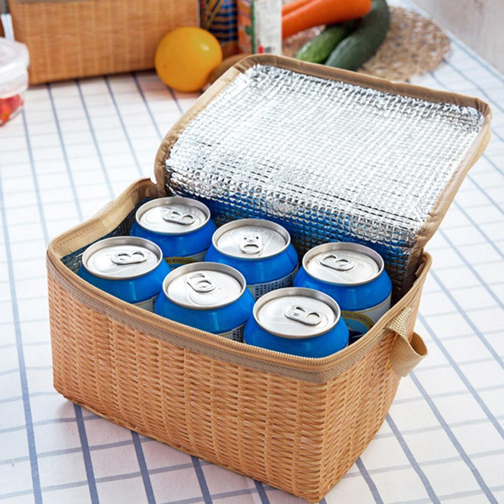 Bags Insulated Thermal Picnic Lunch Bag Woven Waterproof Imitation Rattan