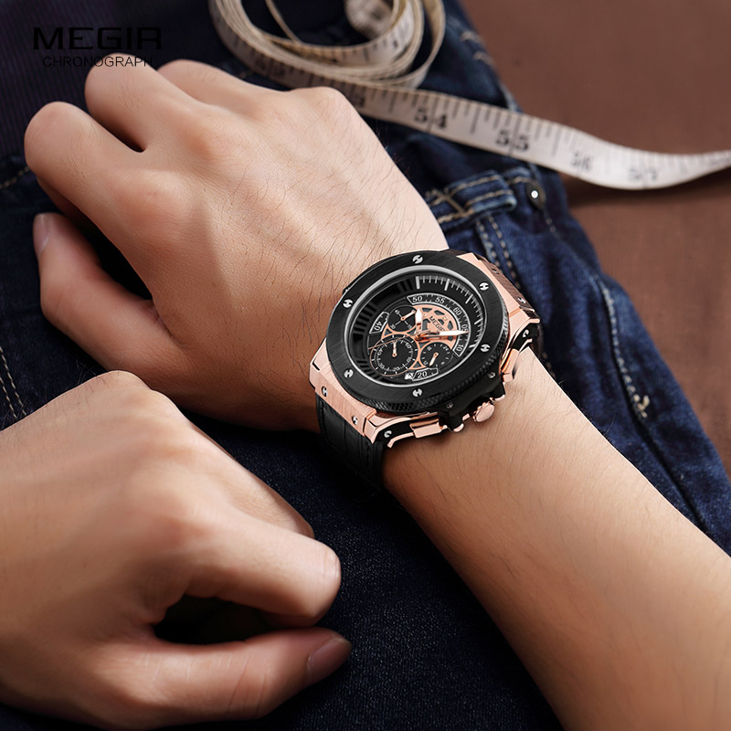 2018 Chronograph Men's Casual Sport Quartz Watch Mens Watches Top Brand Luxury Leather Strap Military Watch Wrist Male Clock ochstin sport mens watches top brand luxury male leather chronograph quartz military wrist watch men clock saat montre horloge