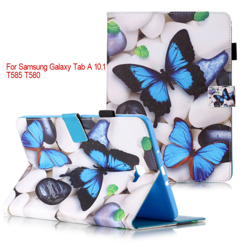 Fashion stand pu leather cover case For Samsung Galaxy Tab A 10.1 2016 T580 T585 SM-T580 T580N Tablet cases+flim+stylus pen KF55 wholesale pu leather case stand cover for samsung galaxy tab 3 7inch tablet sm t110 film pen reel u0314 15