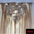 8A Brasileiro Grampo em Extensões Em Linha Reta Cabeça Cheia 7 pcs grampo em extensões de cabelo humano Brasileiro Do Cabelo Virgem loira P8/613