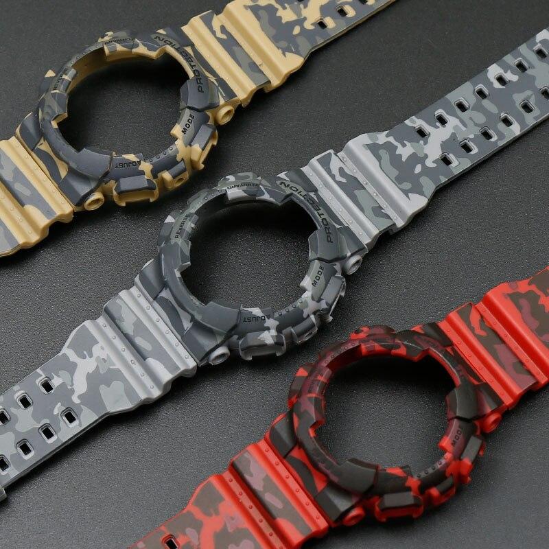 Camuflagem caso alça de resina homens para Casio G-SHOCK GA-110 GA-100/GD-120 5146 5081 Acessórios Relógio