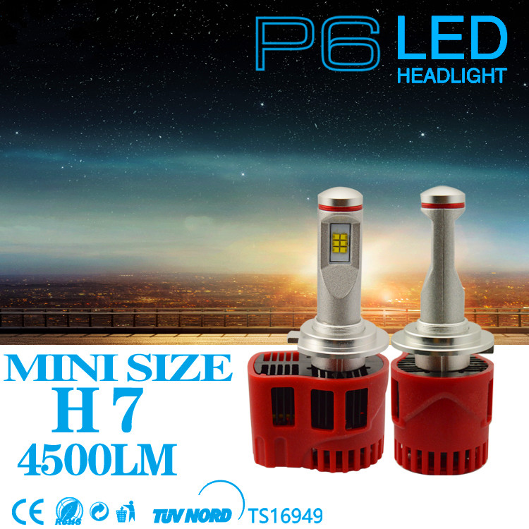 One Set 45W 9000LM High Power LED Car Head Light H7 H11 P6 LED Headlight Bulb Fog Driving Lights Auto White 6000K Lamps