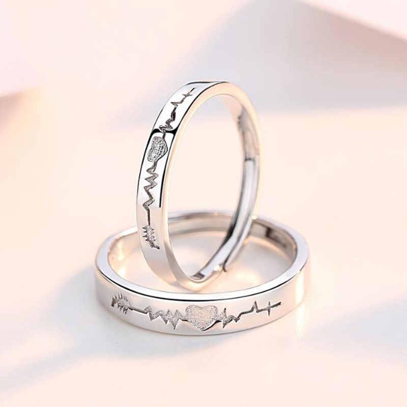 Ataullah คู่แหวนเงิน 925 เครื่องประดับ Electrocardiogram WAVE Heartbeat แหวนสำหรับคนรักผู้หญิงผู้ชาย Alliance Bijoux RW063