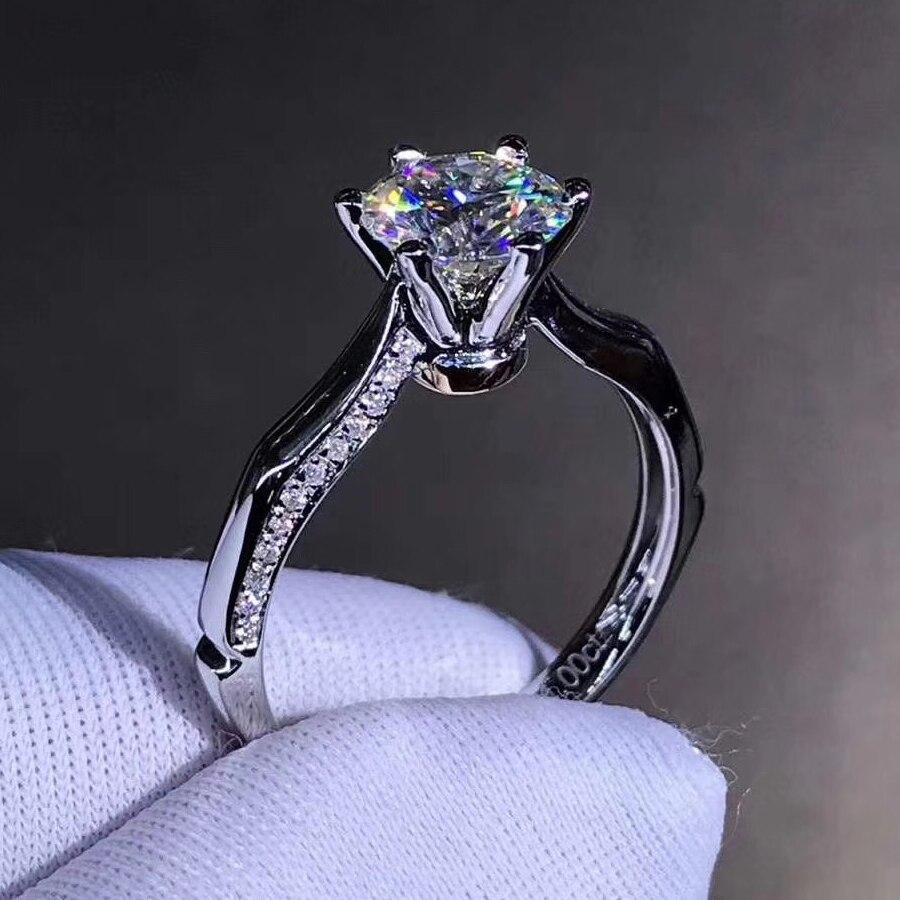 Trendy 14K Weiß Gold 1ct 2ct 3ct Moissanite Diamant schmuck Ring Spezielle Design Hochzeit Party Engagemen Jahrestag Ring